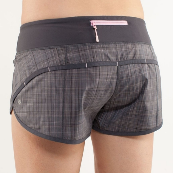 Lululemon Speed Shorts in Shale Gray / Lavender